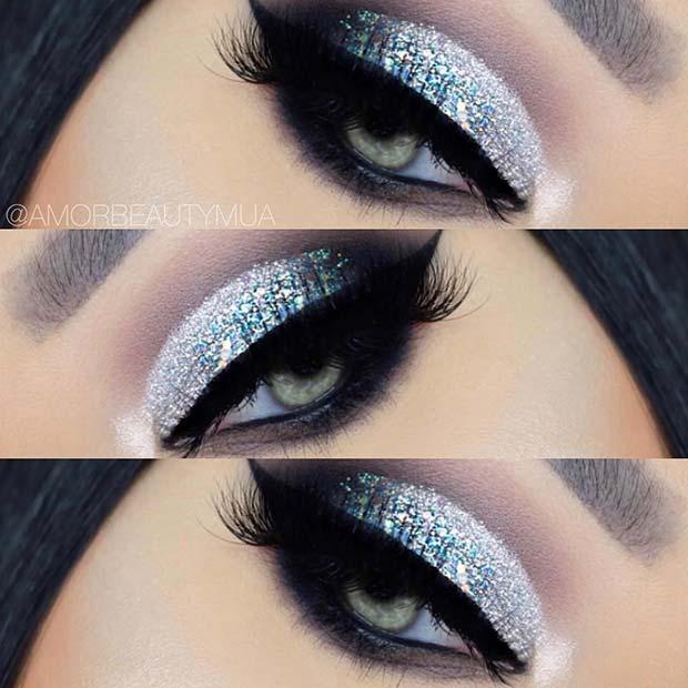 Silver Glitter Eye Makeup Look