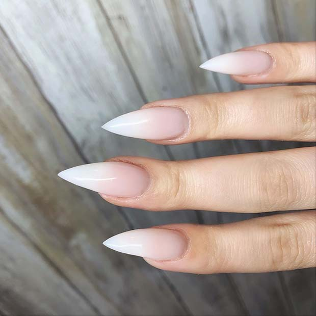 Stiletto Shaped Baby Boomer Nails