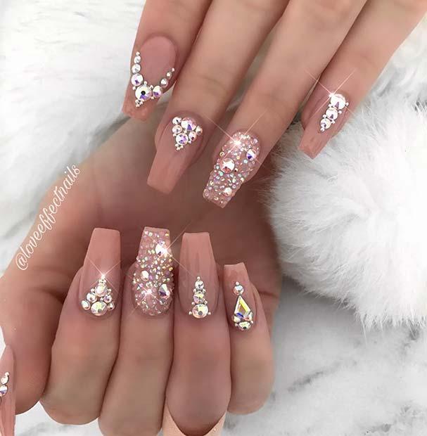 Stunning Nude Crystal Nails
