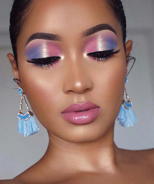Stylish Pink and Purple Eyeshadow Look for Summer