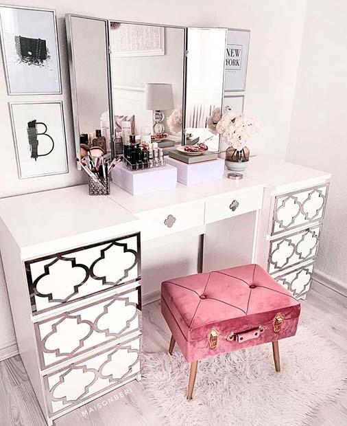 Stylish Vanity Table with Suitcase Stool