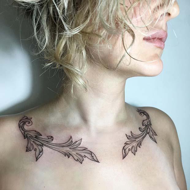 Stylish and Unique Collar Bone Tattoos