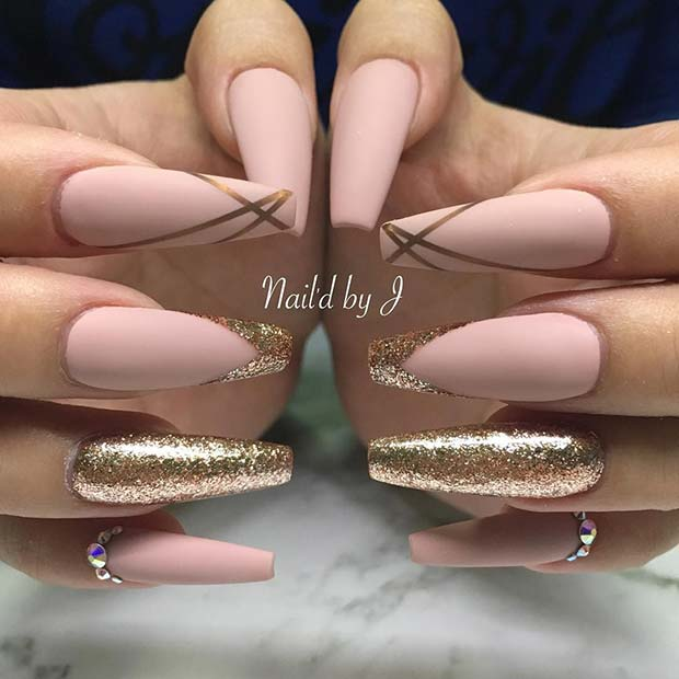 Matte Nude and Gold Glitter Nails