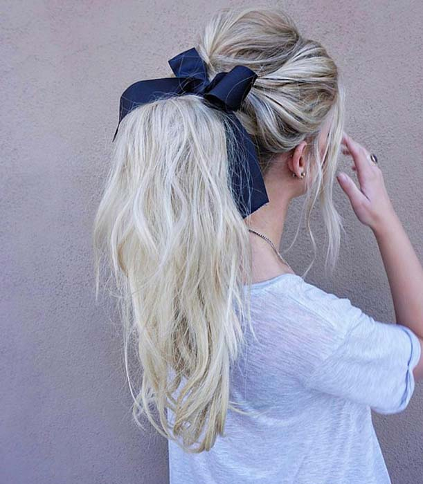 Textured Ponytail with a Bow
