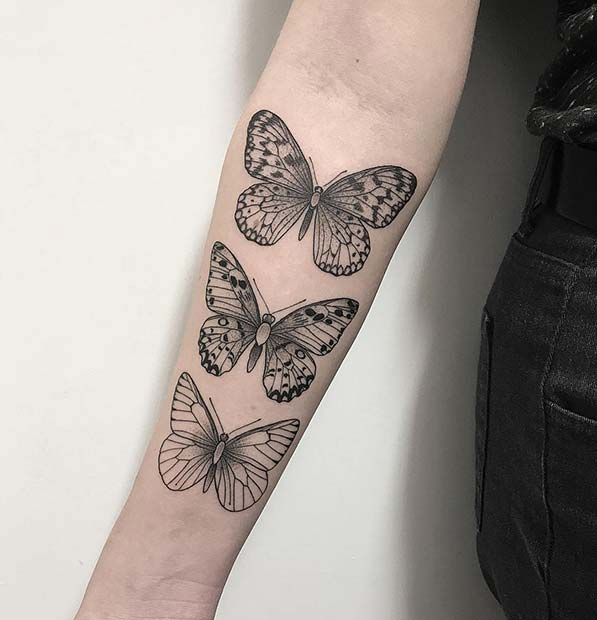 Three Butterflies Tattoo Design