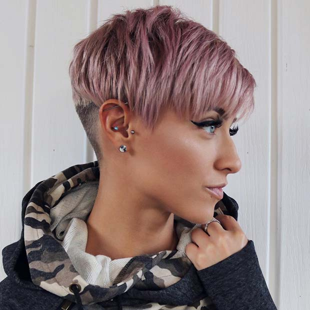 Trendy Pink Haircut with an Undercut