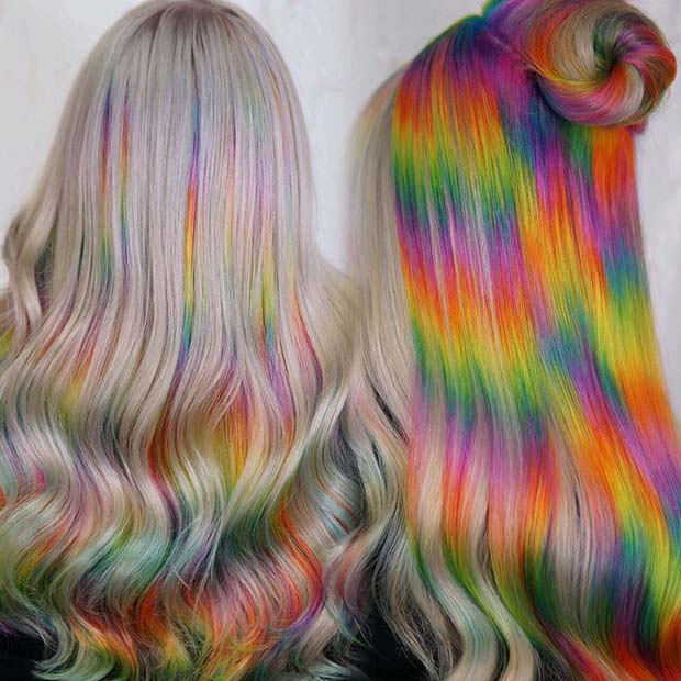 Trendy Rainbow Hair Idea