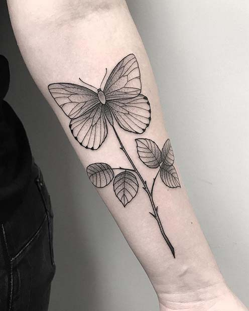 Unique Floral Butterfly Tattoo