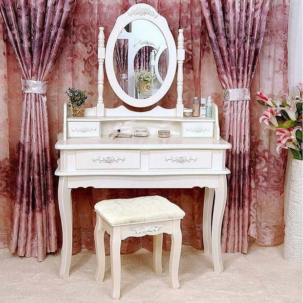 Vanity Table with Glam Curtains