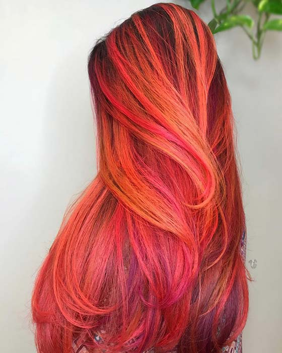 Vibrant Red and Orange Highlights