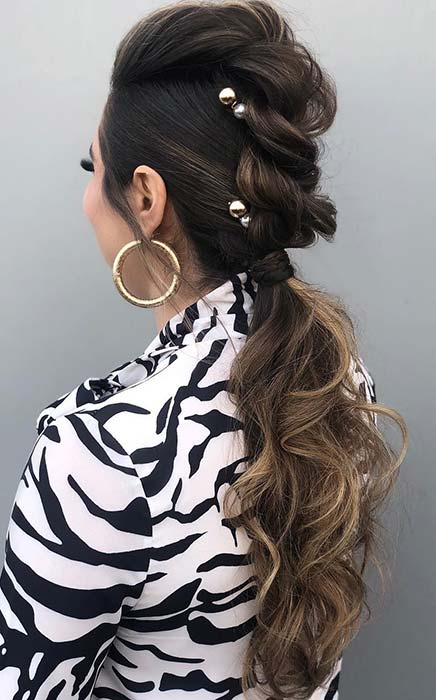 Accessorized Ponytail for Long Hair