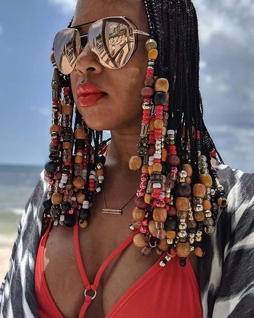 Medium Fulani Braids with Beads