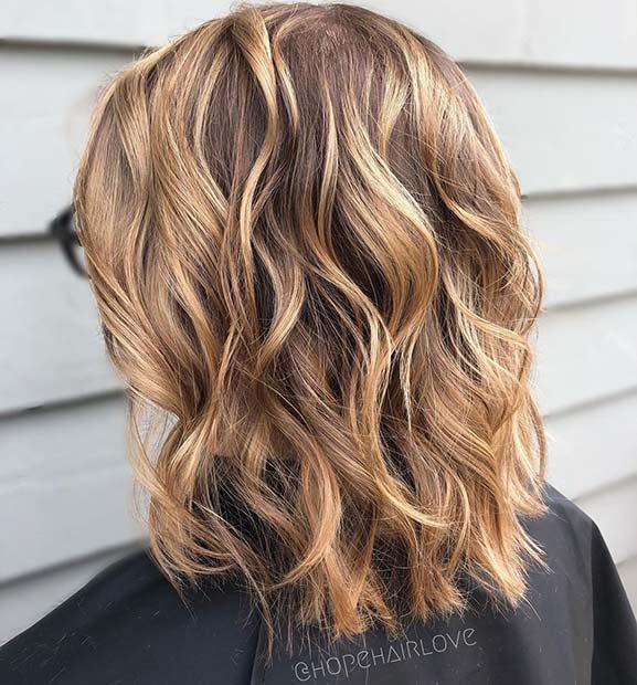 Bright Caramel Highlights for Short Hair