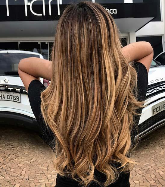 Caramel Highlights for Long Hair