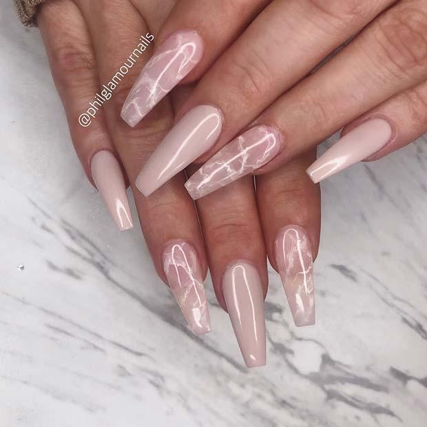 Nude Marble Nail Idea