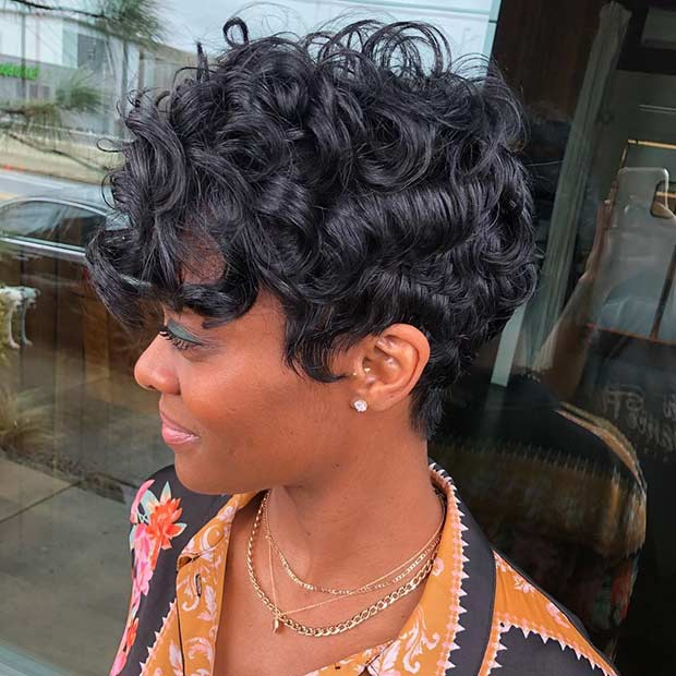 Curly Layered Pixie Cut