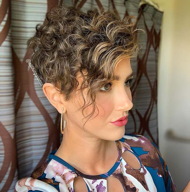 Curly Short Haircut with Side Bangs