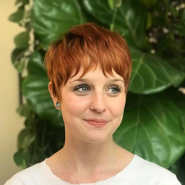 Cute Copper Pixie with Bangs
