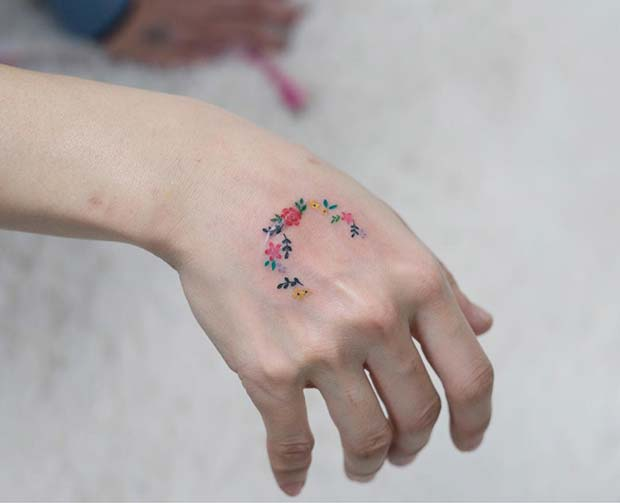 Cute Floral Hand Tattoo
