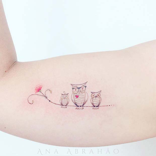 Cute Family Owl Tattoo