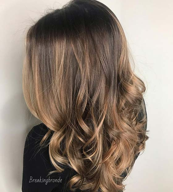 Dark Hair and Caramel Highlights