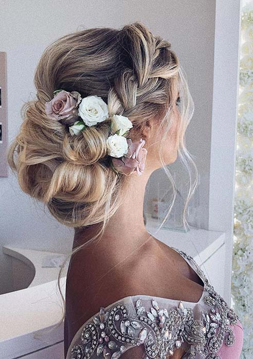 Elegant Braided Updo with Flowers