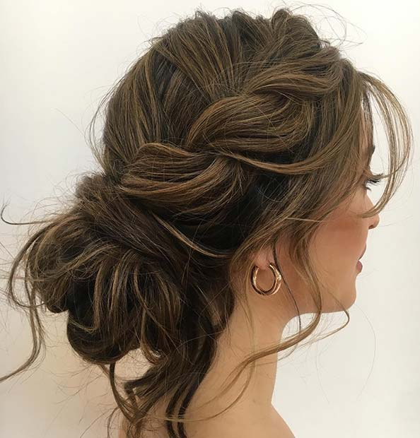 Elegant and Textured Updo with a Side Braid