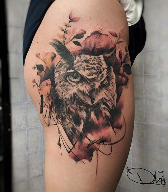 Fierce Owl Hip Tattoo
