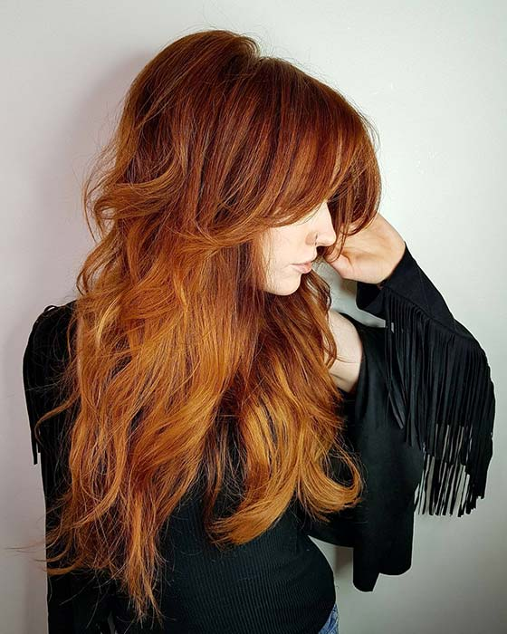 Fiery Feathered Hair