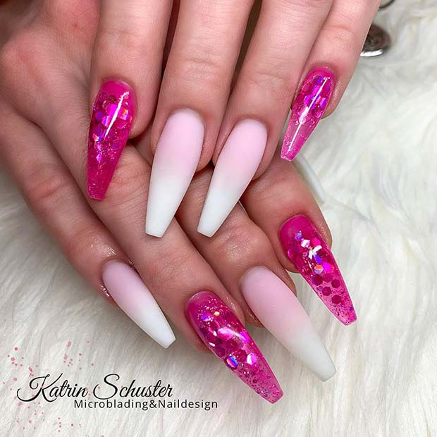 French Fade Nails with Hot Pink Accent Nails