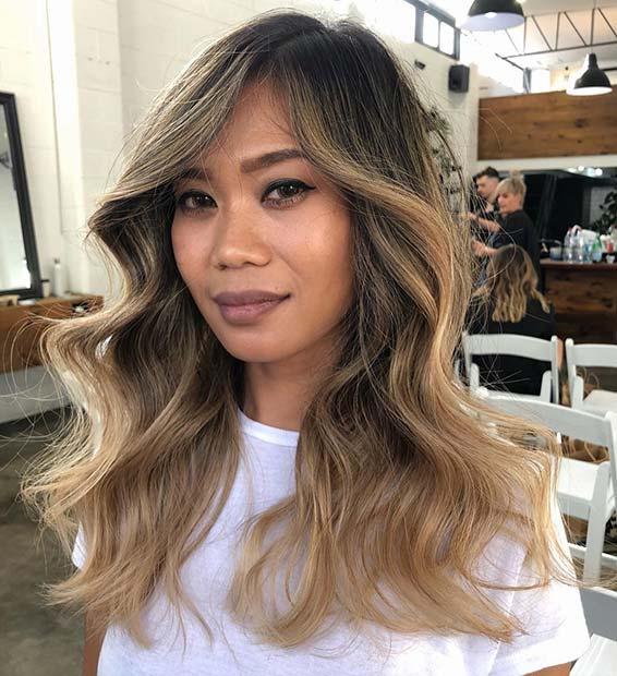 Glam Caramel Blonde Highlights
