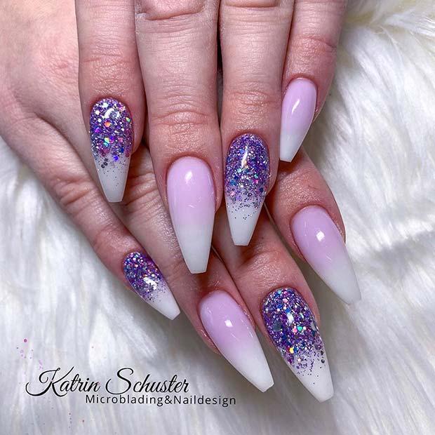 Purple Glitter Ombre Coffin AcrylicNails