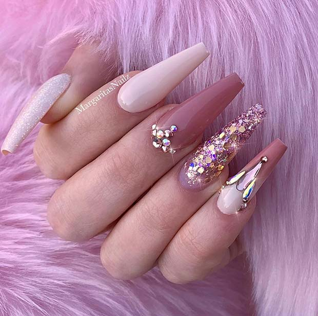 23 Nail Designs and Ideas for Coffin Acrylic Nails 2019