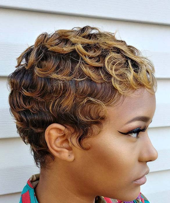 Gorgeous Short Cut with Caramel Highlights