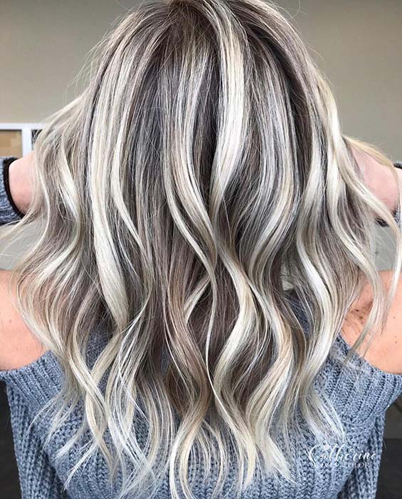 Icy Blonde Highlights for Brown Hair
