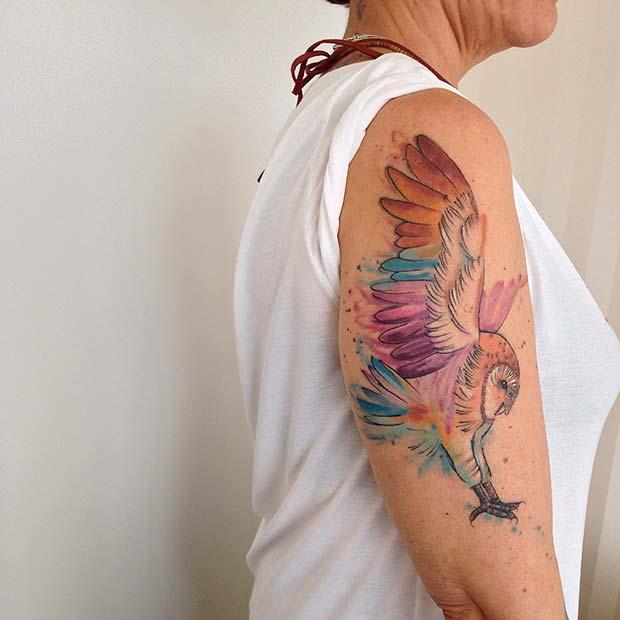 Colorful Owl Arm Tattoo