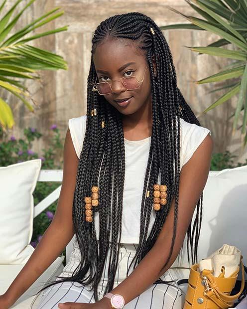 Long Fulani Braids with Beautiful Beads