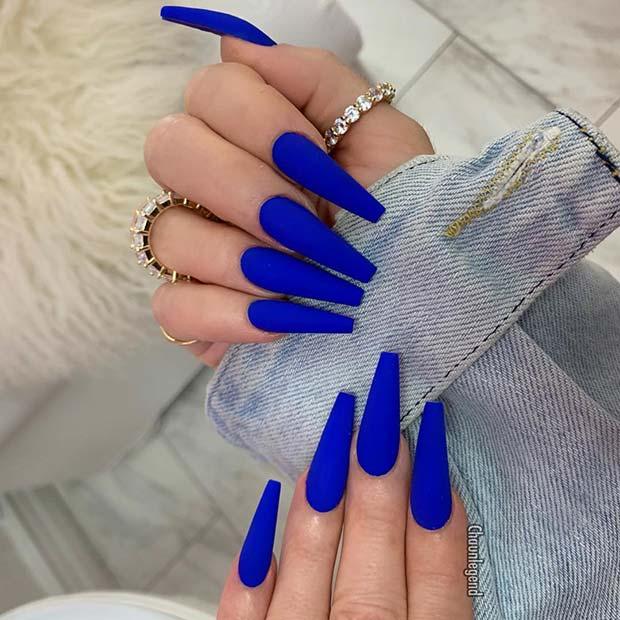 Matte Blue Coffin Acrylic Nails