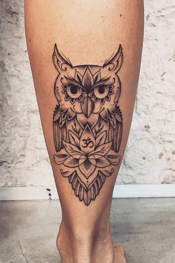 Patterned Owl Tattoo Design