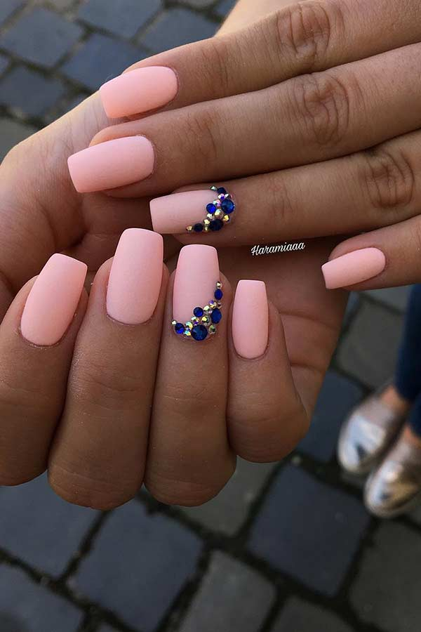 Peachy Matte Nails with Rhinestones