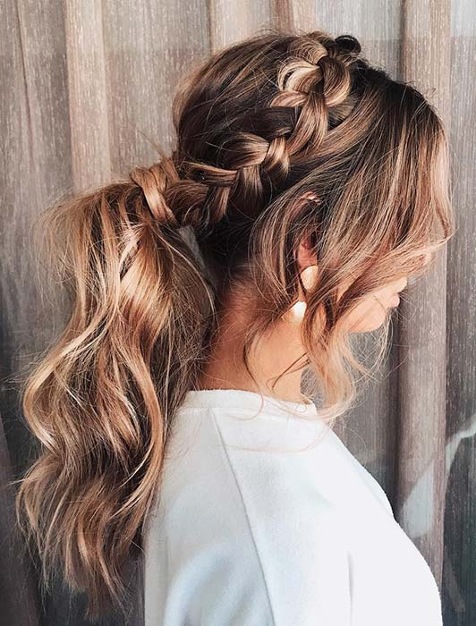 Messy Ponytail with a Side Braid