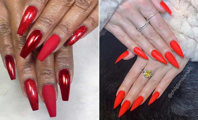 d5f710e13231a AcrylicNailsStiletto Acrylic Nails Stiletto in 2019 Nails Red nails