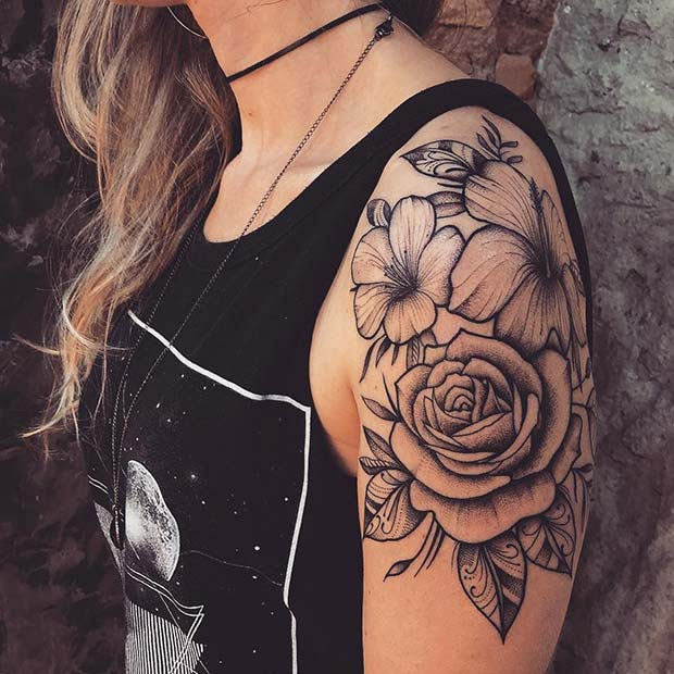 Rose and Hibiscus Flower Tattoo