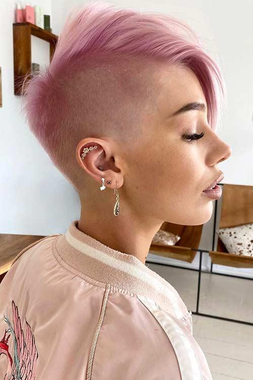 Shaved Short Pink Hair
