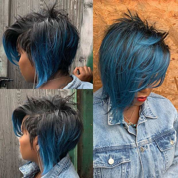 Short Layered Hair with Blue Highlights