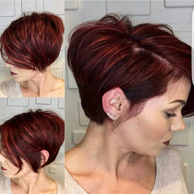 Short Red Layered Haircut