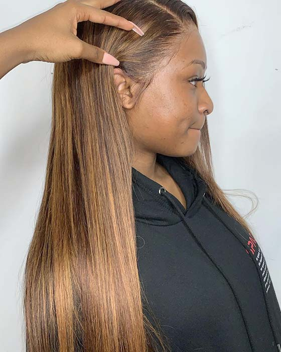 Caramel Hair Color Idea for Black Women