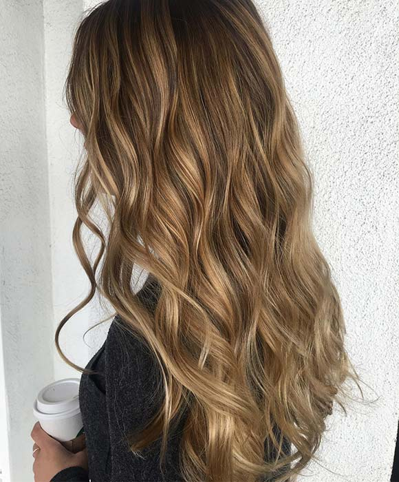 Soft Caramel Highlights for Long Hair
