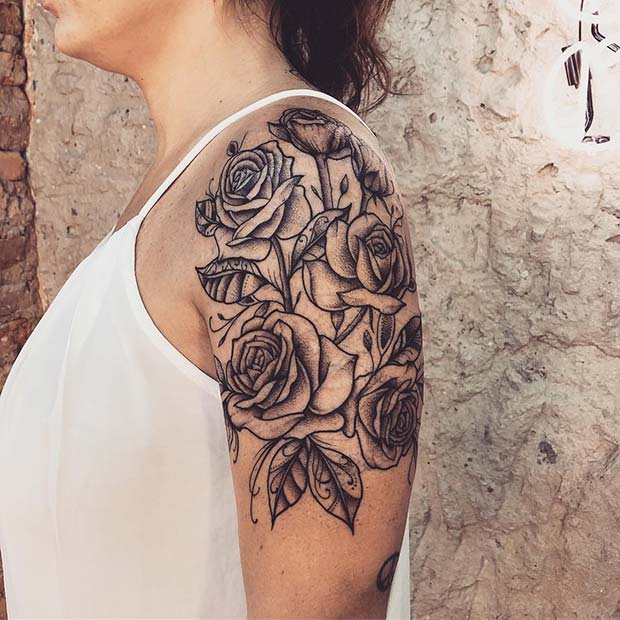 Stunning Rose Shoulder and Arm Tattoo