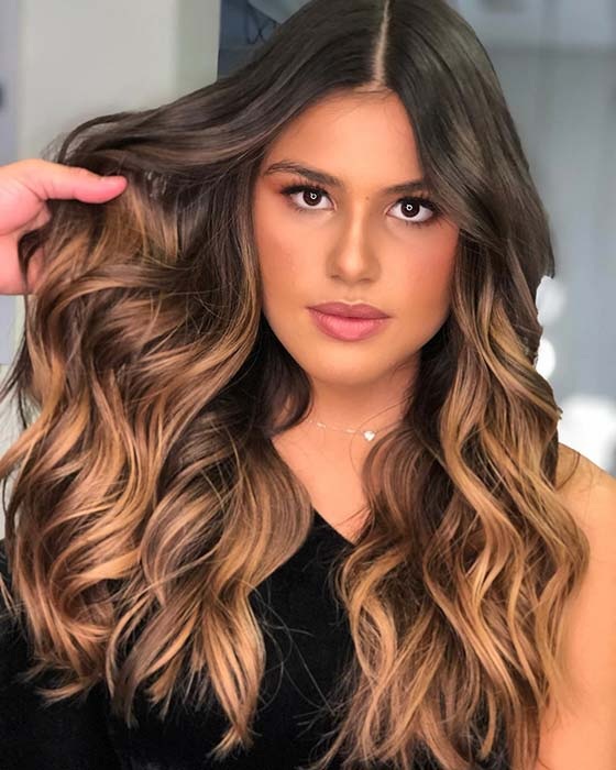 Stylish Caramel Ombre Hair